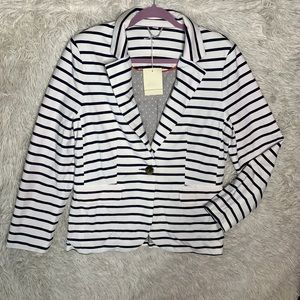 BODEN | White & Navy Blue Striped Nautical Blazer